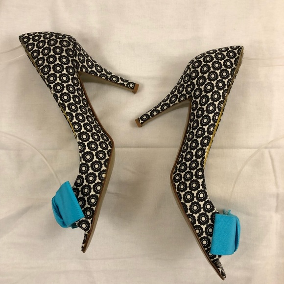 J Crew Shoes Price Dropj Crew Patterned Heels W Ribbon Bow Poshmark Cool Patterned Heels